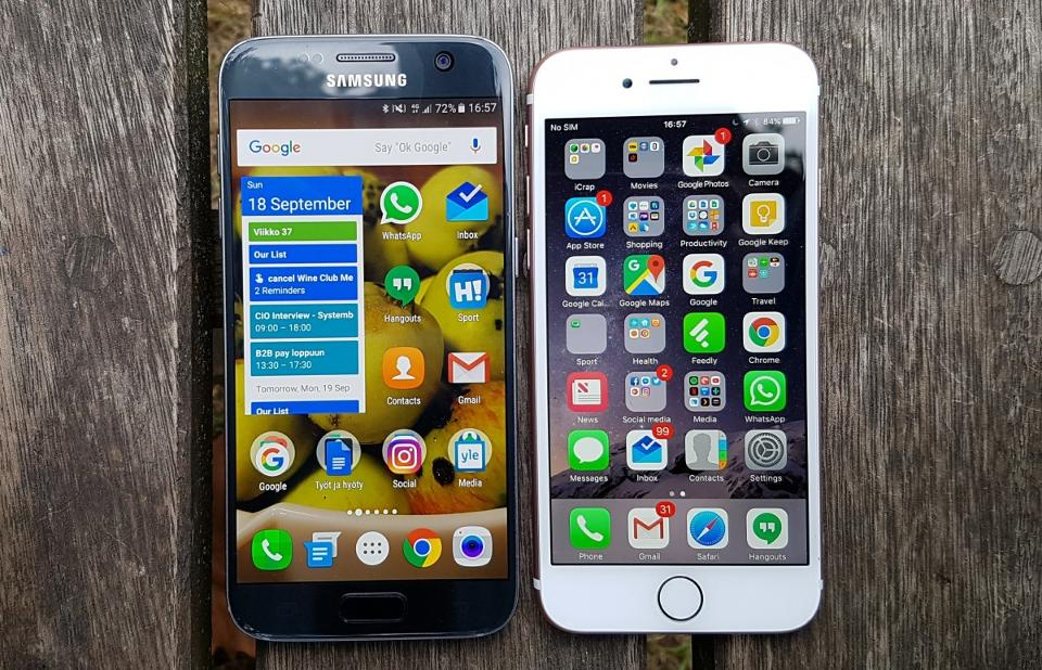 مقارنة بين ايفون 7 وموبايل جلاكسي S7