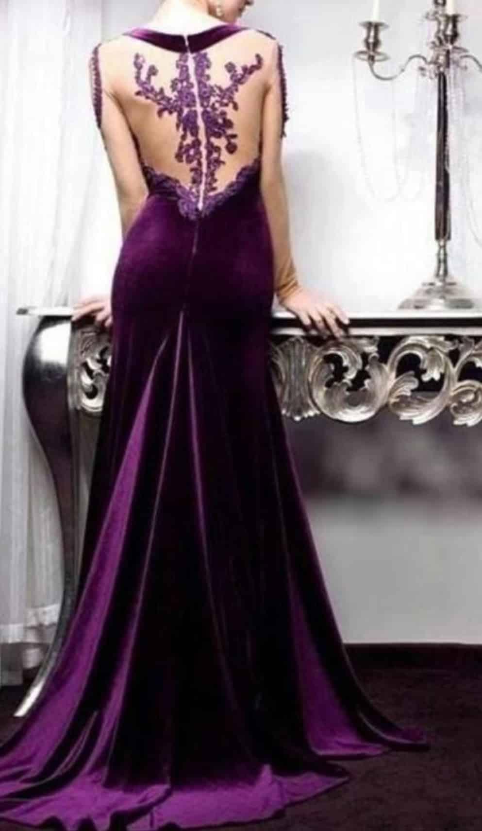 صور أجدد تصميمات لفساتين قطيفة للسهرة منوعة