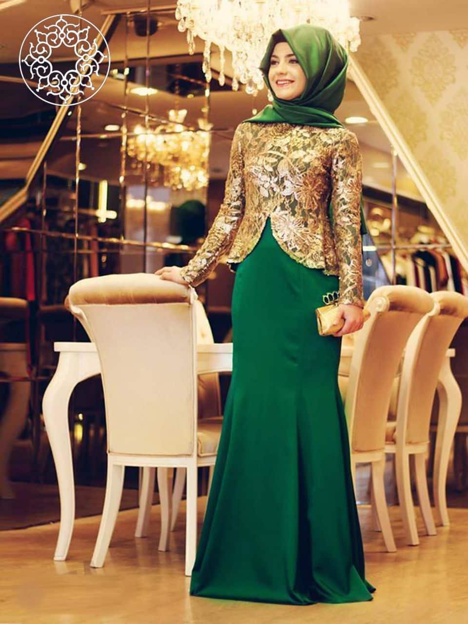 صور فساتين سهرة خاصة بالمحجبات على الموضة جميلة جدا